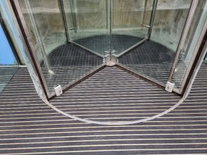 Entrance matting system with a combination of Rubber and Interior carpet infills